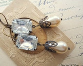 In Love. Shabby antique bridal earrings, cream pearls, antique rhinestone earrings, assemblage earrings, boho earrings.