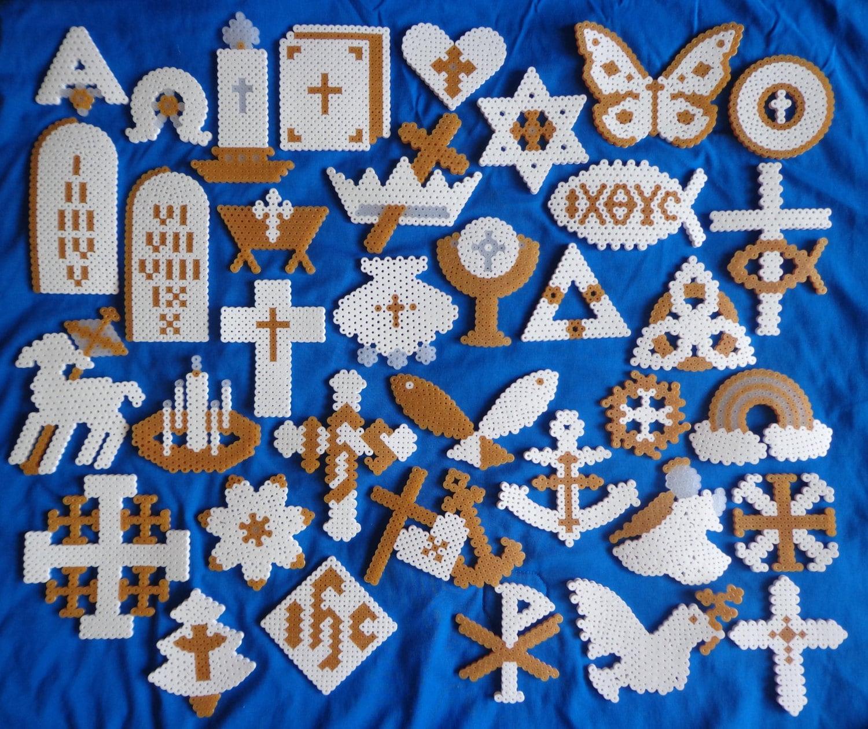 chrismon christian christmas perler bead ornament set of 36