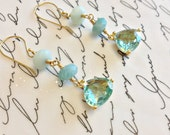 SALE Sunlight on Caribbean Waves...Aquamarine Trillians set in gold vermeil wire wrapped with an ombre shading of Amazonite.