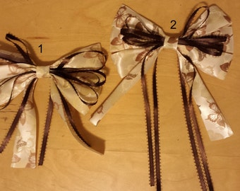 Brown Butterfly Ribbon Hair Bow Clips