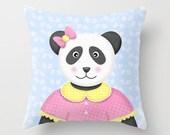 Panda Bear Pillow, Nursery Pillow, Kids Decorative Pillow, Throw Pillow, Kids Accent Pillow, Panda Bear Children's decor