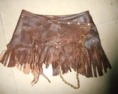 BURNING Man leather mini skirt/belt with pocket,fringing and studs...30' to 38'' hip or waist...