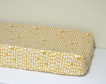 Baby Changing Pad Cover - Arizona - Canyon Walls - Contoured - White and Mustard Yellow