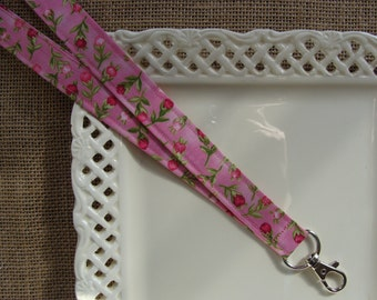Fabric Lanyard - Cottage Roses on Pink