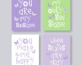 Girl Nursery Decor, Purple Wall Art Purple and Green Butterfly Nursery Art Playroom Art You Are My Sunshine Wall Art Girl baby shower gift