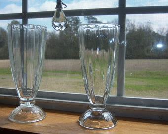 Vintage Pair Ribbed Malt Glasses