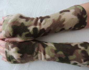 Fleece Arm Warmer, Fleece Fingerless Glove, Camouflage Texting Glove, Cycling Glove, Fleece Driving Glove, Fleece Hand Warmers, Cammo Gloves