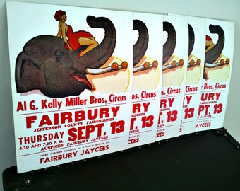 Vintage Circus Poster Wall Hanging - Excellent Condition - Al G. Kelly Miller Bros. Circus - Fairbury, NE - Jefferson County Fairgrounds