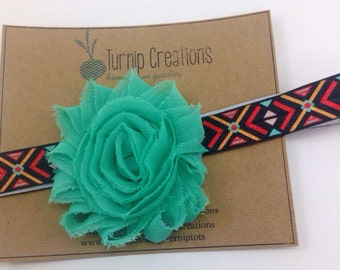 Aztec Headband Mint Headband Tribal Headband Indian Boho Headband