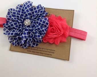 Coral & Blue Headband Quatrefoil Ballerina flower Blue and White Rhinestone Coral Shabby Flower Headband Photo Prop