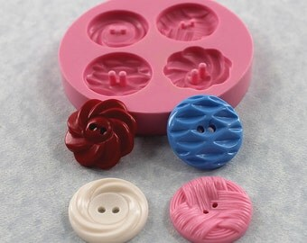 Button Mold Vintage Buttons Silicone Mold Mould Resin, Fondant, Chocolate, Polymer Clay, PMC (332}