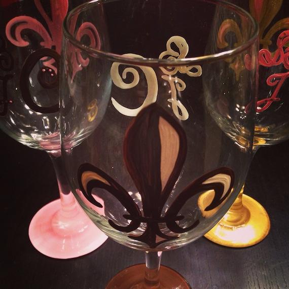Fleur De Lis Wine Glass with monogram on the  back  monogrammed wedding gift