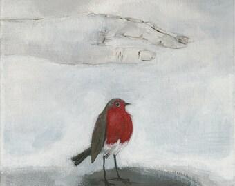 "Robin print 'Hand of the garden angel' 8"" X 8"""
