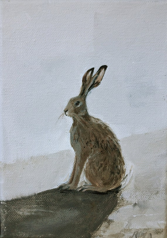 """Hare painting 5"""" x 7"""""""