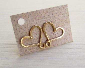 Sweet 16 earrings. Gold stud heart earrings. Studda earrings. Small heart earrings. Girls earrings.