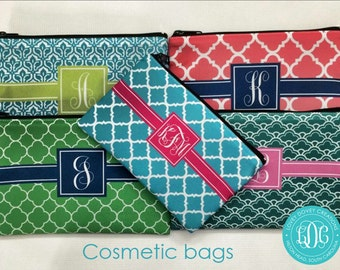 Personalized Cosmetic Bag - Monogrammed Pouch Bag - Bridesmaid gift  Gift for her  Personalized Makeup Bag
