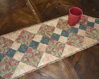 Quilted Table Runner, Patchwork Quilt Runner, Country Decor, Green Kitchen Decor, Double Four Patch Table Runner
