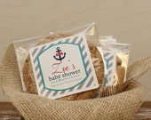 24 Personalized Cellophane Cookie Bags, Candy Bags - Nautical Label - ANY COLOR - Nautical Baby Shower Favor Bag // Nautical Favor Label