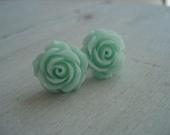 Mint Green Rose Stud Pierced Earrings Roses