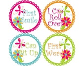 Baby's First Milestone Stickers, I Can Crawl, I Can Walk, First Tooth, First Word, First Smile, and More, Girls Monthly Stickers (G090-M)