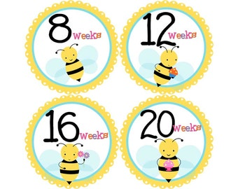Pregnancy Stickers, Pregnancy Announcement, Weekly Stickers, Belly Stickers, Maternity Photo Prop, Belly Bump Stickers, Bees (G034-P)