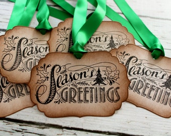Vintage Inspired Holiday Gift Tags - Seasons Greetings - Set of 5