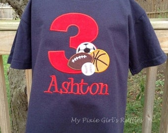 Monogrammed Sports Themed Birthday T-Shirt