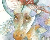 Hoshi DRAGON  ACEO watercolor PRINT giclee myth mystical - Free Shipping