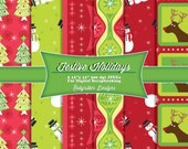 INSTANT DOWNLOAD: Festive Holiday Christmas Digital Scrapbook Paper 6 Pack