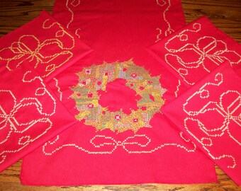 Hand Embroidered Holiday Table Runner with Set of 4 Matching Napkins