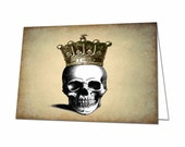 Skull with a Crown Note Card, Skull Thank You Card, Halloween Note Card