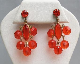 Vintage Orange Faceted Crystal Drop Earrings