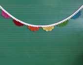 Crocheted Rainbow Doily Garland with Pom-Poms - Made to Order