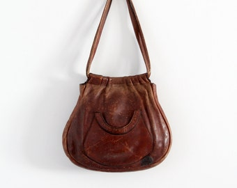 vintage 70s leather purse,  brown shoulder bag