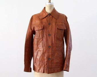 1970s leather jacket, men's brown coat