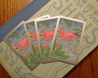 Silver & Gold, Silver and Gold...FLAMINGOS! 4 VTG Playing cards, REpurpose for Beachy Christmas gift tags, placecards, wedding table numbers