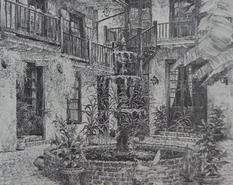 SALE Vintage New Orleans Maison De Ville Courtyard Matted Charcoal Drawing, 16 x 13.5, lovely FRENCH Quarters architecture, garden, 1976