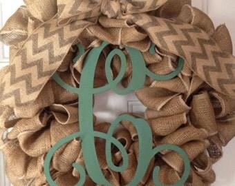 Large Vine Letter Burlap Wreath