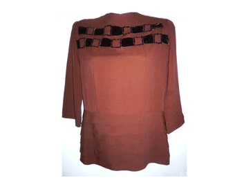 1940's Art Deco Brown Rayon Crepe Blouse with velvet and sequins-L