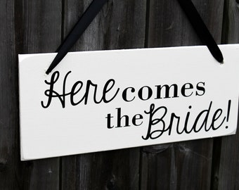 "6"" x 14.5"" LIGHT WEIGHT Wooden Wedding Sign: Here comes the Bride and ...and they lived happily ever after - Made To Order"