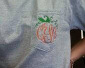 MONOGRAMMED Pumpkin Pocket Tee - Short Sleeve - Sorority Gift -Bridesmaid Gift