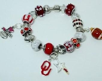 Oklahoma Sooners European Style  Bracelet - REDUCED PRICE