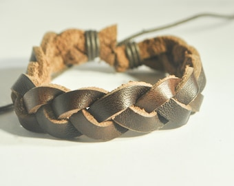 Thick Brown leather braided bracelet