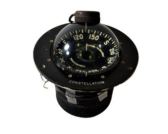 Vintage Boat Compass, Constellation Danforth / White, Nautical Compass, Large Sailing Compass