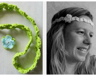 Headband crochet with flower green