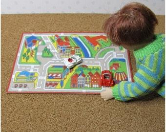 Dolls house miniature playmat with cars, nursery, playroom, toyshop accesssory.