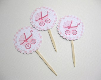 10 Cupcake Toppers - Pink White It's a Girl Baby Carriage Stroller - Food Picks -  Cupcake Picks - Baby Shower Favors