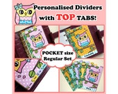 SIZE: POCKET Personalised Dividers (Top Tabs / Regular Set) Cute Kawaii Owl Characters for Filofax Organizer