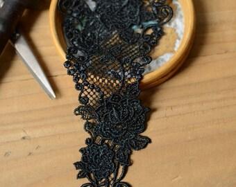 Venice Applique Trim - 1 PCS Black Roses Applique Lace (A77)