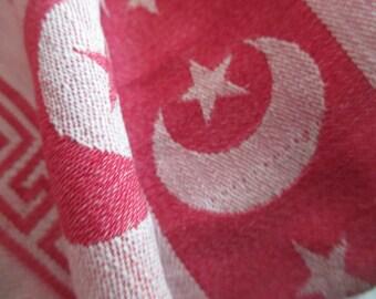 Antique Victorian Turkey Red Moon U0026 Star Greek Key Tablecloth Cutter For  Fabric LA 79